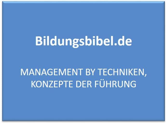 Management by Techniken, Konzepte der Führung